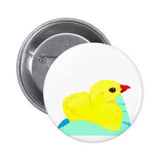 Yellow chick blue hand children grapic kid 6 cm round badge