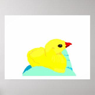 Yellow chick blue hand children grapic kid print