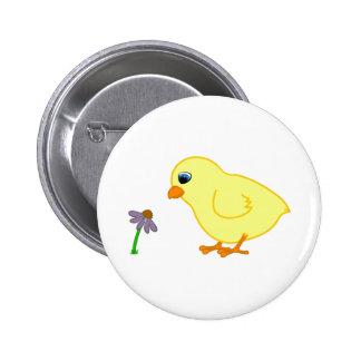 Yellow Chick with Purple Coneflower 6 Cm Round Badge