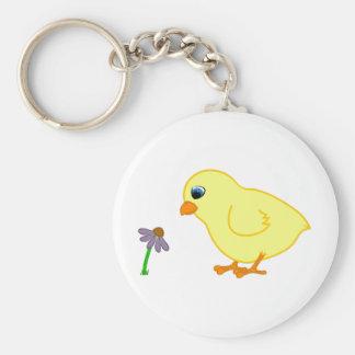 Yellow Chick with Purple Coneflower Basic Round Button Keychain