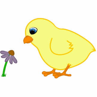 Yellow Chick with Purple Coneflower Photo Sculpture Badge