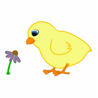 Yellow Chick with Purple Coneflower Photo Sculpture Keychain