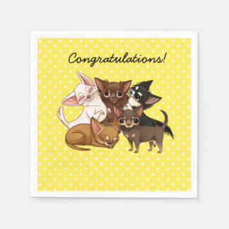 Yellow Chihuahua Paper Party Napkins Disposable Napkin