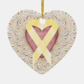 Yellow Childhood Cancer Ribbon From the Heart - SR Ceramic Heart Decoration