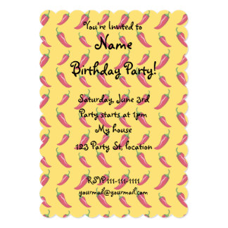 """Yellow chili peppers pattern 5"""" x 7"""" invitation card"""