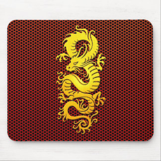 Yellow Chinese Dragon on Steel Mesh Mouse Pad