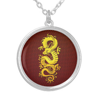 Yellow Chinese Dragon on Steel Mesh Personalized Necklace