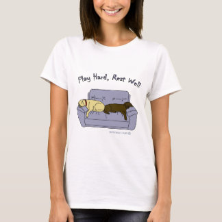 yellow & chocolate lab play hard T-Shirt