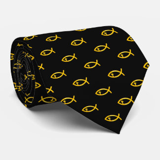 Yellow Christian Fish Crucifix | Religious Tie