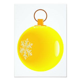 Yellow Christmas Bauble Invitations. Card