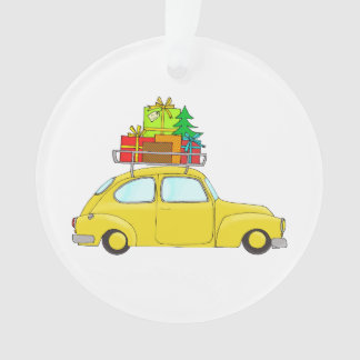 Yellow Christmas car towing tree Ornament