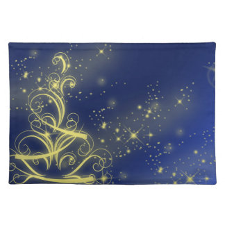 Yellow christmas tree blue placemat