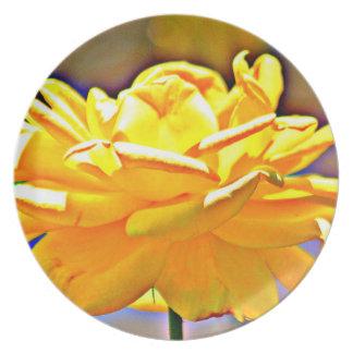 Yellow Chromatic Rose Melamine Plate