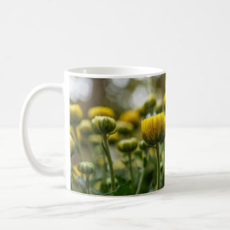 Yellow Chrysanthemum Flower Bud White Mug Cup