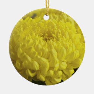 Yellow Chrysanthemum Macro Photograph Round Ceramic Decoration