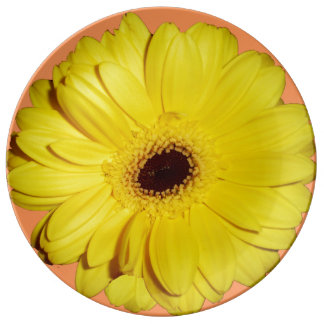 Yellow chrysanthemum porcelain plate