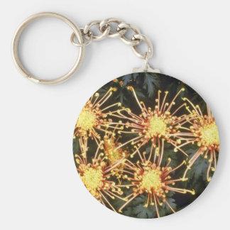 yellow Chrysanthemum 'Scimitar' (Florist Chrysanth Basic Round Button Key Ring