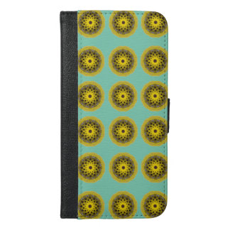 Yellow circle pattern iPhone 6/6s plus wallet case