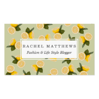 Yellow Citrus Lemon Fruit on Pale Lime Green Pack Of Standard Business Cards