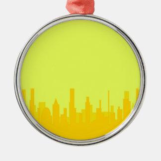 Yellow Cityscape Silver-Colored Round Decoration