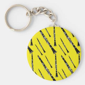 Yellow Clarinet Pattern Key Ring