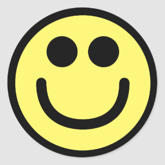 Yellow Classic Smiley Face Round Sticker