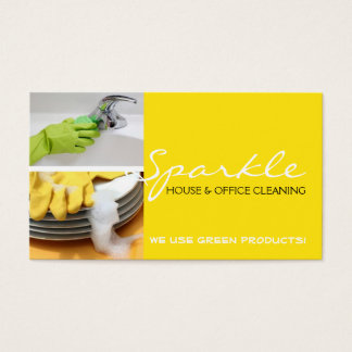 Yellow Clean House Home Cleaning Cleaners Business Business Card
