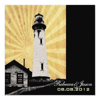 Yellow Coastal Nautical Lighthouse Wedding 13 Cm X 13 Cm Square Invitation Card