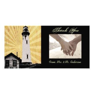 Yellow Coastal Nautical Lighthouse Wedding Customised Photo Card