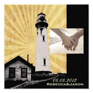 Yellow Coastal Nautical Lighthouse Wedding Photo