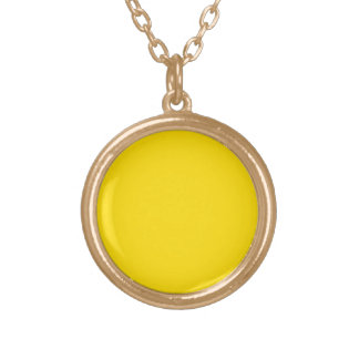 Yellow Color Round Gold Finish Custom Necklace