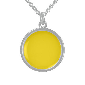 Yellow Color Round Silver Sterling Pendant