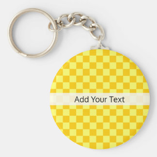 Yellow Combination  Checkerboard by ShirleyTaylor Basic Round Button Key Ring