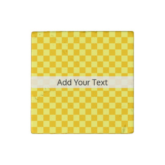 Yellow Combination  Checkerboard by ShirleyTaylor Stone Magnet