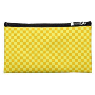 Yellow Combination Diamond-Checkerboard Cosmetic Bag