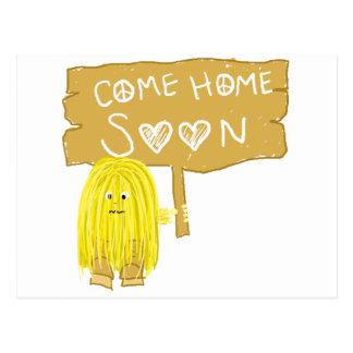 Yellow come home soon postcard