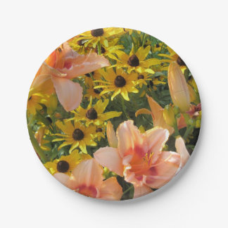 Yellow Cone Flowers and Lilies Garden Paper Plate