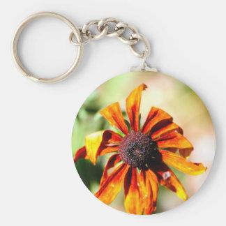 Yellow coneflower, or black-eyed-Susan Basic Round Button Key Ring