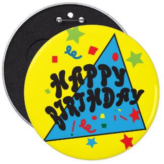 Yellow Confetti Happy Birthday Party 6 Cm Round Badge