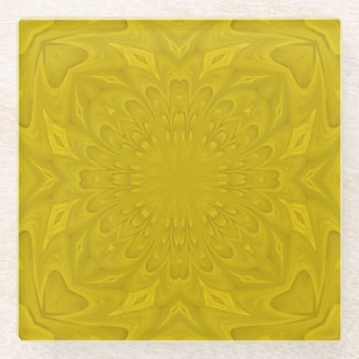 Yellow cool modern trendy pattern glass coaster