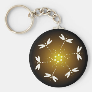 Yellow core dragonfly keychain