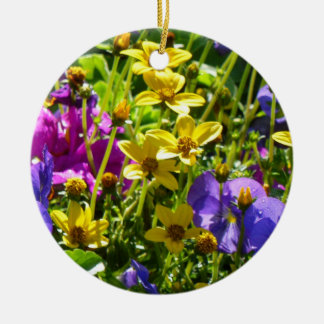 Yellow Coreopsis and Purple Violas Colorful Floral Round Ceramic Decoration