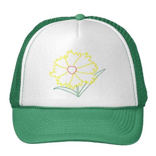 Yellow Coreopsis Flower Drawing Hats Hats
