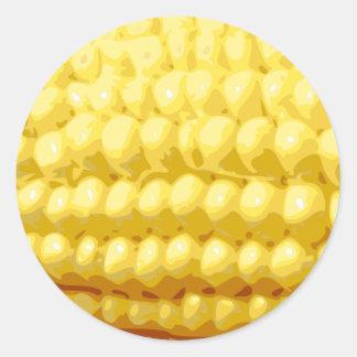 Yellow Corn on the Cob Texture Classic Round Sticker