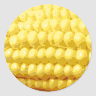 Yellow Corn on the Cob Texture Round Sticker