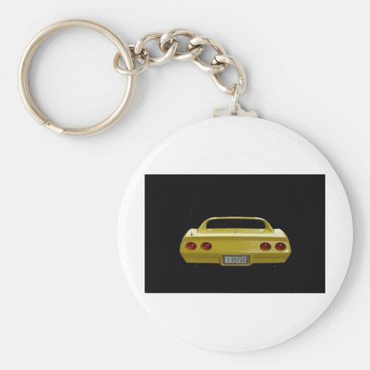 Yellow Corvette Basic Round Button Key Ring