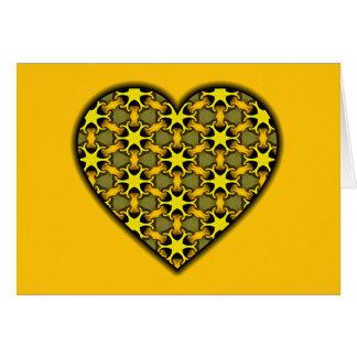 Yellow Cosmic Burst Heart Greeting Cards