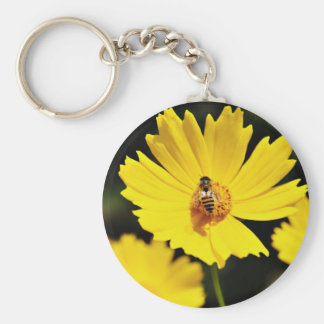 Yellow Cosmos Flower and Bee Keychains