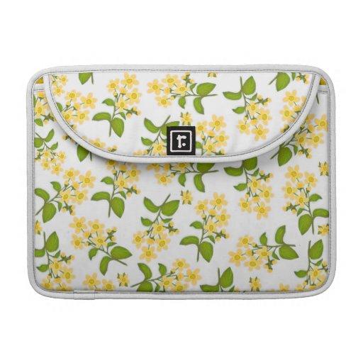 Yellow Country Wildflowers Rickshaw Flap Sleeve MacBook Pro Sleeves