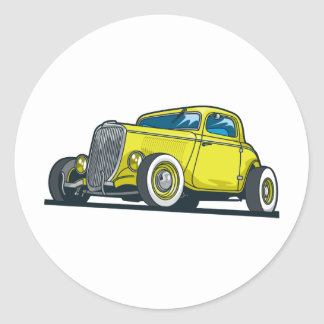 Yellow Coupe Classic Round Sticker
